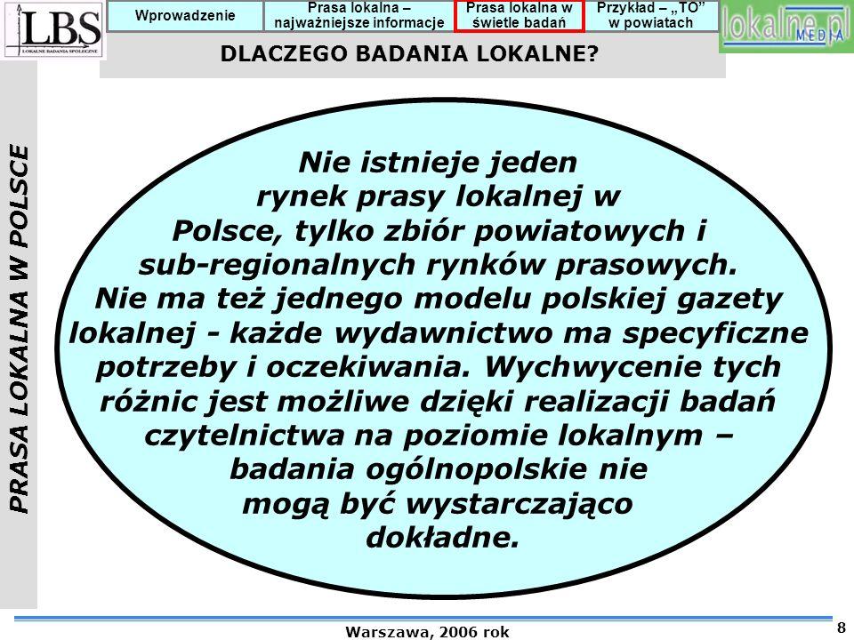 Polsce, tylko zbiór powiatowych i sub-regionalnych rynków prasowych.