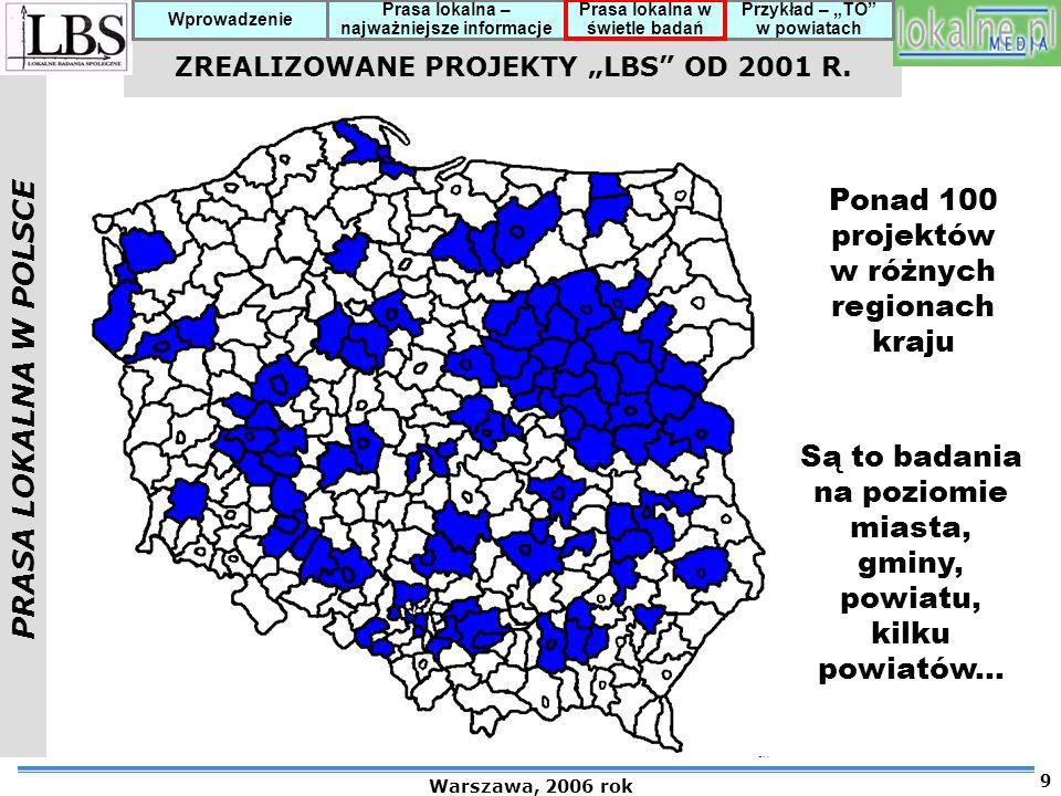 """ZREALIZOWANE PROJEKTY """"LBS OD 2001 R."""