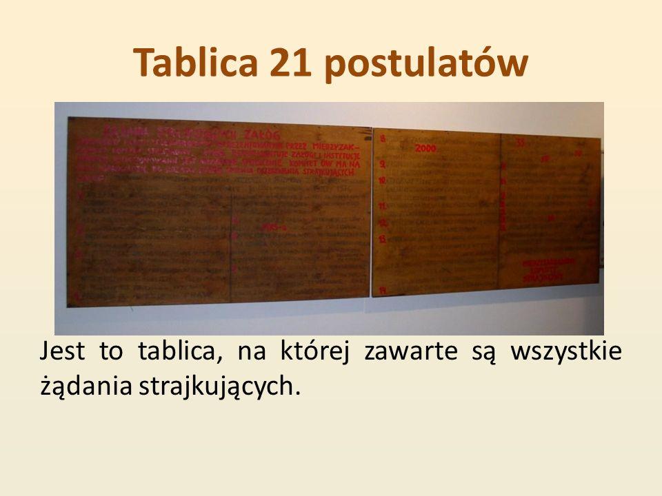 Tablica 21 postulatów Jest to tablica, na której zawarte są wszystkie żądania strajkujących.