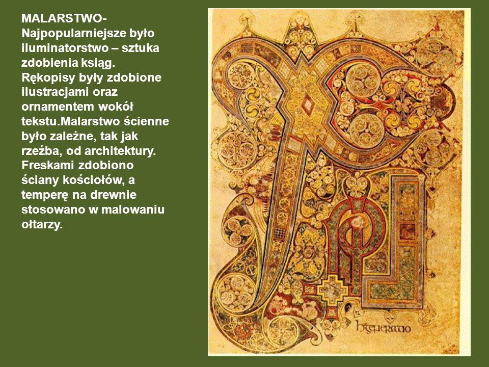 MALARSTWO- Najpopularniejsze było iluminatorstwo – sztuka zdobienia ksiąg.