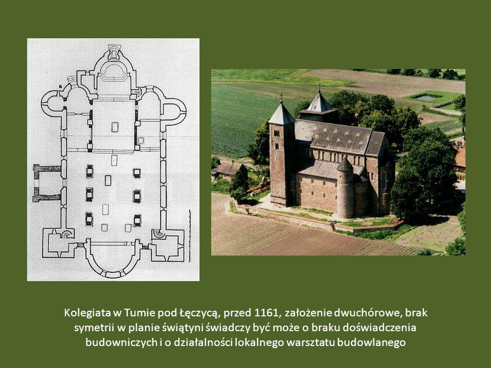 Kolegiata w Tumie pod Łęczycą, przed 1161, założenie dwuchórowe, brak symetrii w planie świątyni świadczy być może o braku doświadczenia budowniczych i o działalności lokalnego warsztatu budowlanego