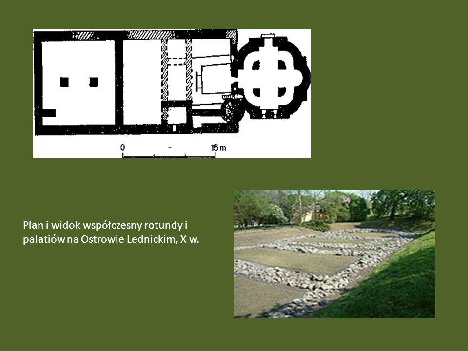 Plan i widok współczesny rotundy i palatiów na Ostrowie Lednickim, X w.