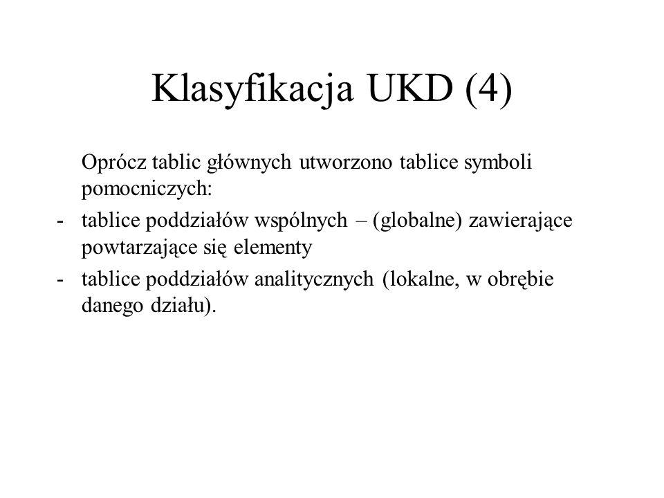 Klasyfikacja UKD (4) Oprócz tablic głównych utworzono tablice symboli pomocniczych:
