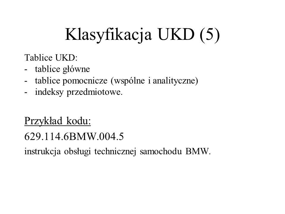 Klasyfikacja UKD (5) Przykład kodu: 629.114.6BMW.004.5 Tablice UKD: