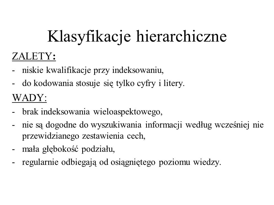 Klasyfikacje hierarchiczne
