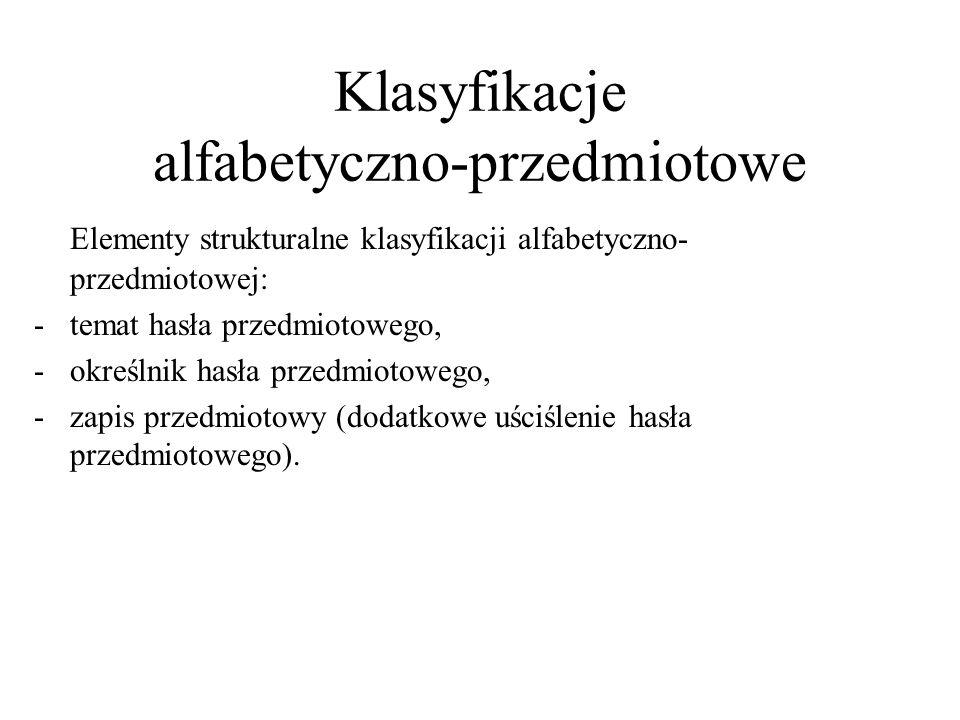 Klasyfikacje alfabetyczno-przedmiotowe