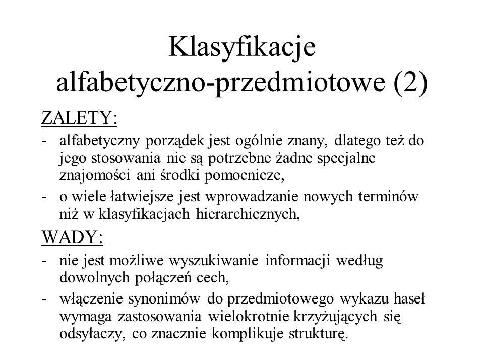 Klasyfikacje alfabetyczno-przedmiotowe (2)