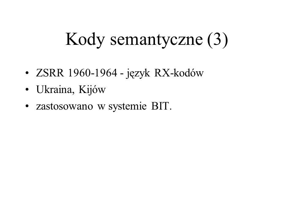 Kody semantyczne (3) ZSRR 1960-1964 - język RX-kodów Ukraina, Kijów