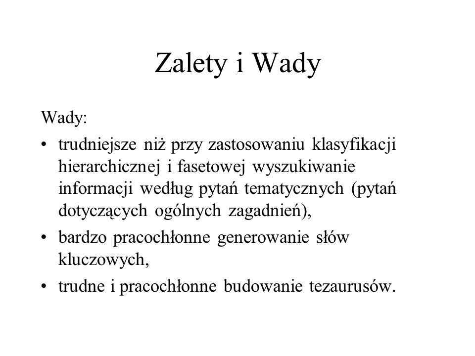Zalety i WadyWady: