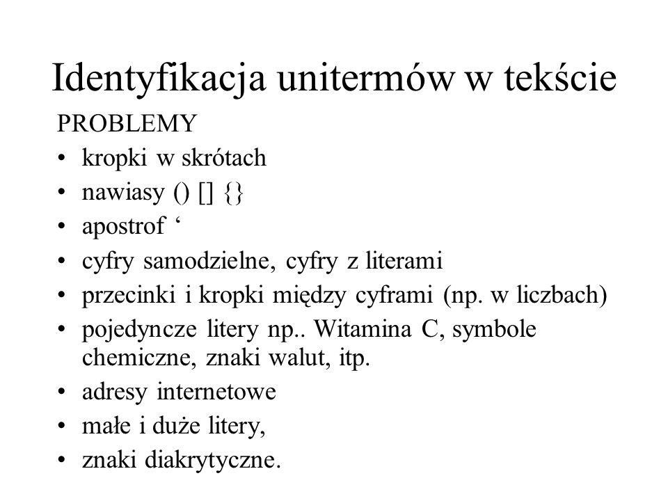 Identyfikacja unitermów w tekście