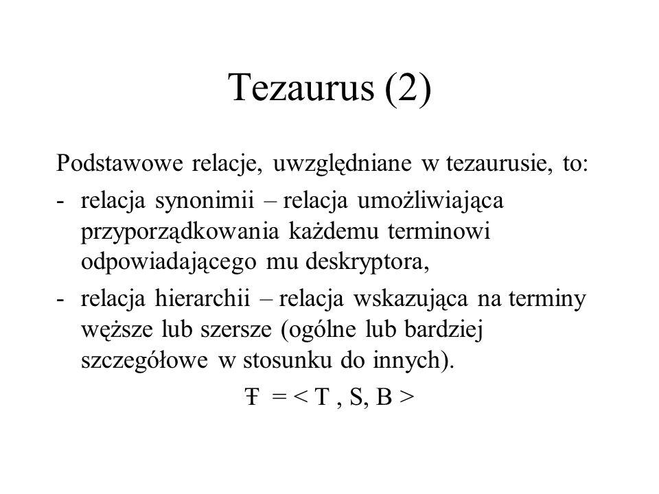Tezaurus (2) Podstawowe relacje, uwzględniane w tezaurusie, to: