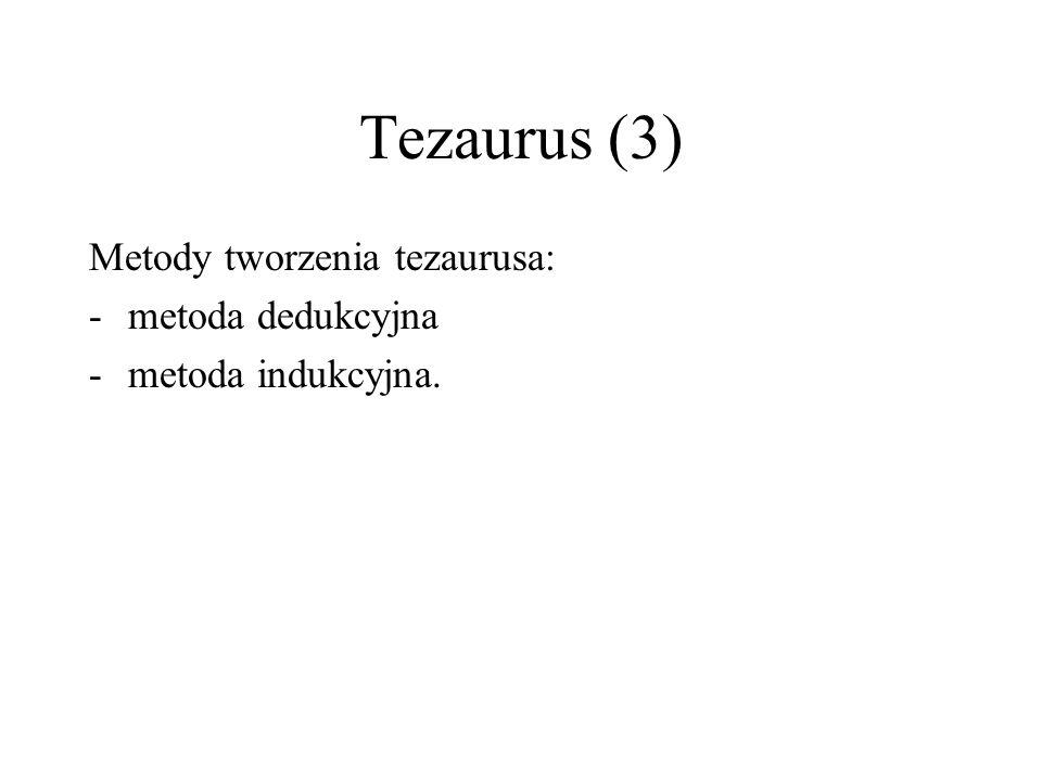 Tezaurus (3) Metody tworzenia tezaurusa: metoda dedukcyjna