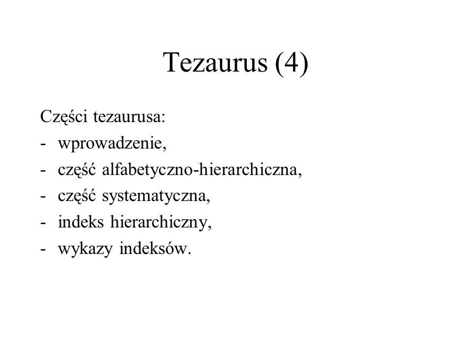Tezaurus (4) Części tezaurusa: wprowadzenie,
