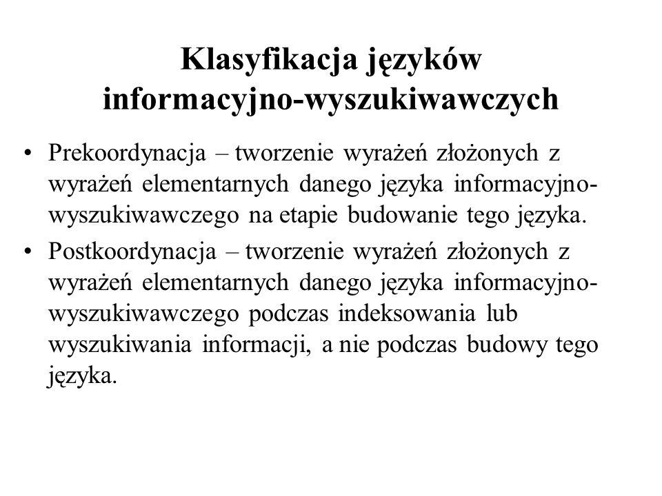 Klasyfikacja języków informacyjno-wyszukiwawczych