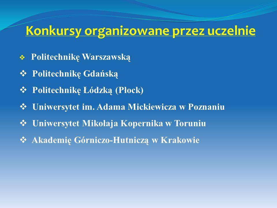 Konkursy organizowane przez uczelnie