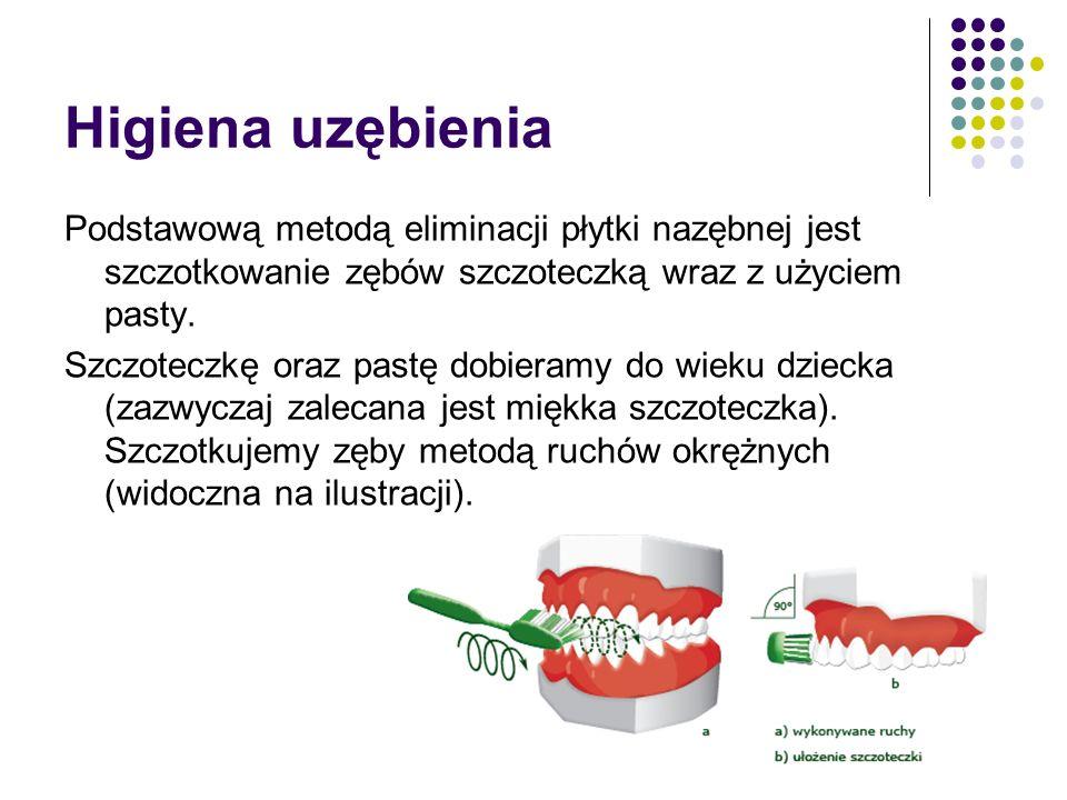 Higiena uzębienia Podstawową metodą eliminacji płytki nazębnej jest szczotkowanie zębów szczoteczką wraz z użyciem pasty.
