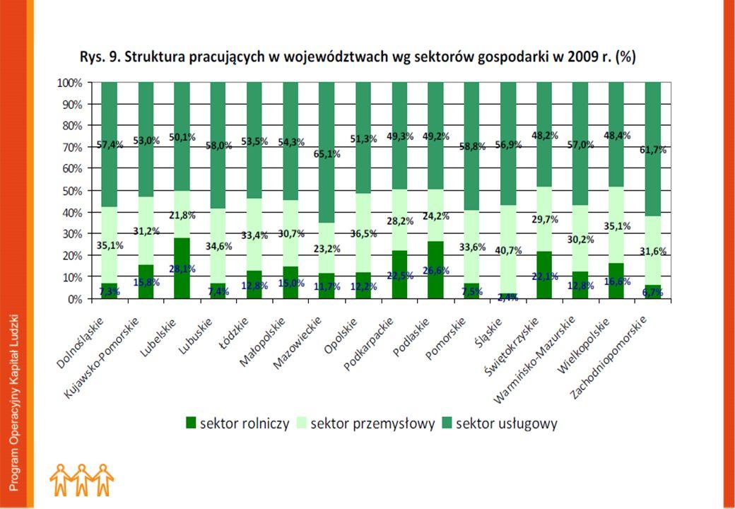 Przemysł 26%, usługi 62%, rolnictwo 12, Największy wzrost w sektorze usług zanotowano w woj.
