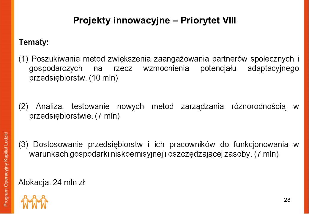 Projekty innowacyjne – Priorytet VIII