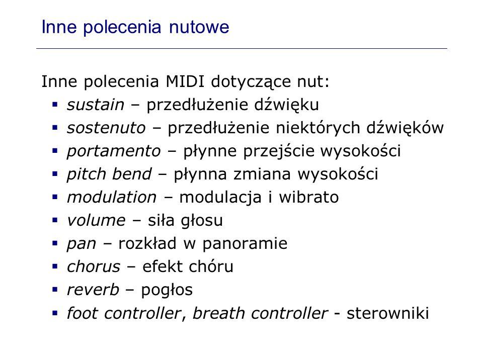 Inne polecenia nutowe Inne polecenia MIDI dotyczące nut: