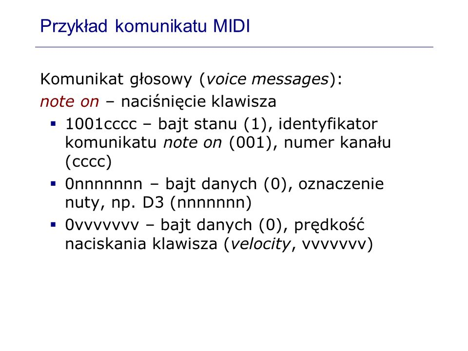 Przykład komunikatu MIDI