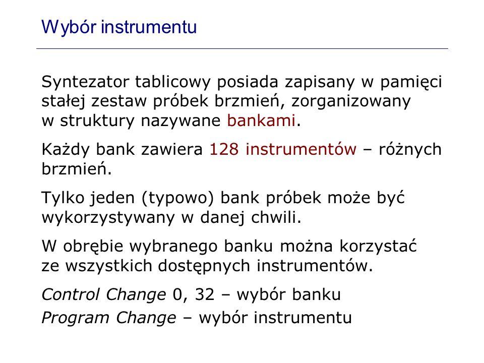 Wybór instrumentu Syntezator tablicowy posiada zapisany w pamięci stałej zestaw próbek brzmień, zorganizowany w struktury nazywane bankami.