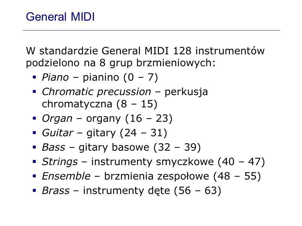 General MIDIW standardzie General MIDI 128 instrumentów podzielono na 8 grup brzmieniowych: Piano – pianino (0 – 7)