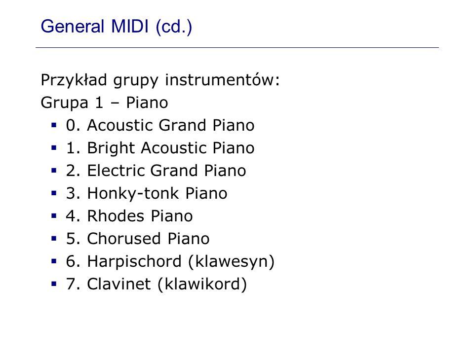General MIDI (cd.) Przykład grupy instrumentów: Grupa 1 – Piano