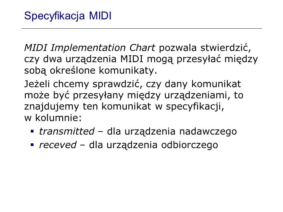 Specyfikacja MIDI MIDI Implementation Chart pozwala stwierdzić, czy dwa urządzenia MIDI mogą przesyłać między sobą określone komunikaty.