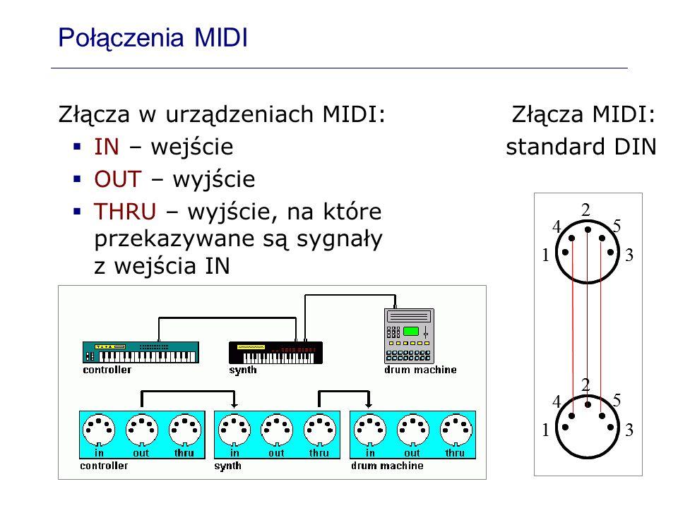 Połączenia MIDI Złącza w urządzeniach MIDI: IN – wejście OUT – wyjście