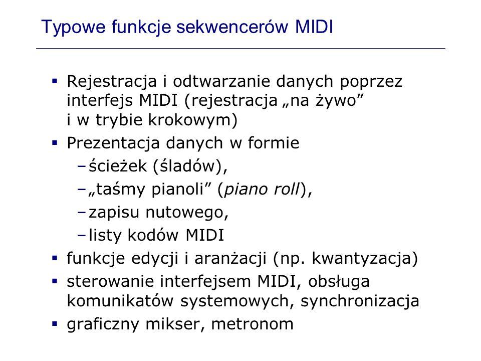 Typowe funkcje sekwencerów MIDI