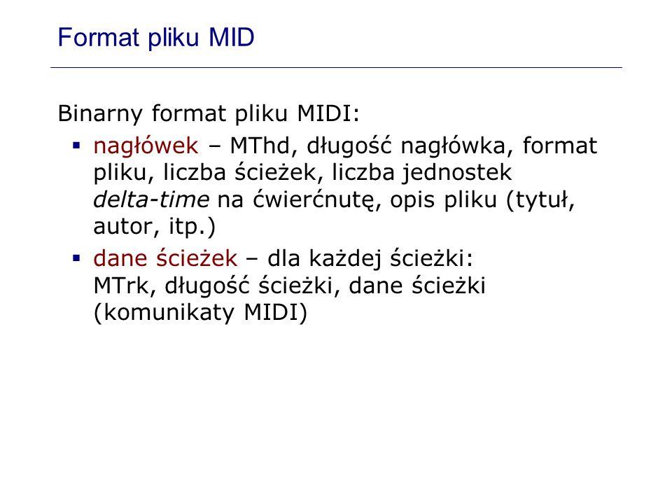 Format pliku MID Binarny format pliku MIDI: