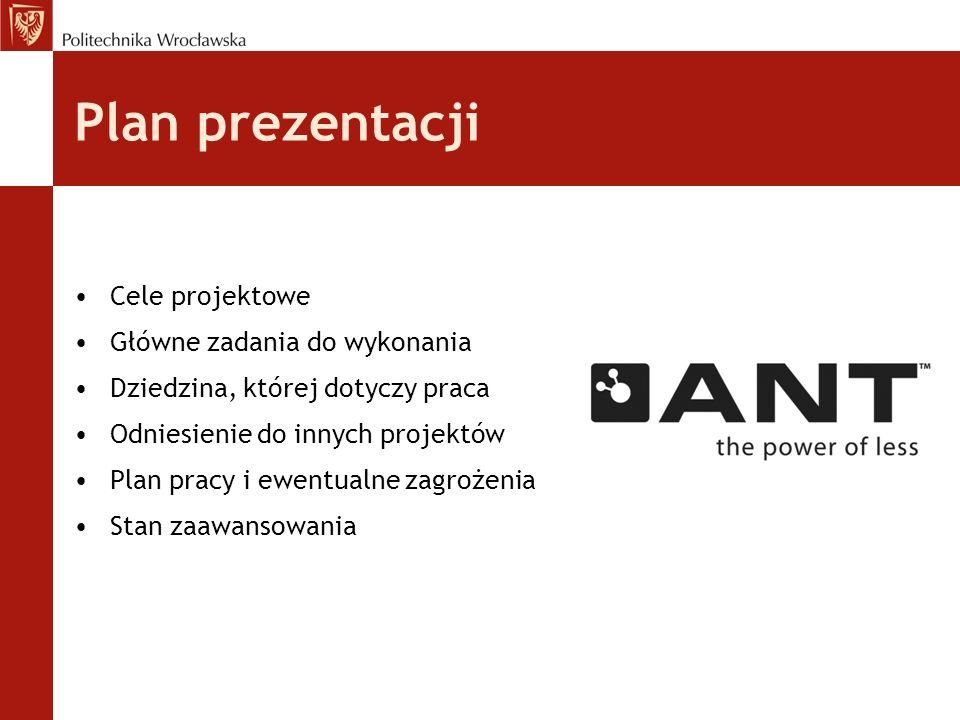 Plan prezentacji Cele projektowe Główne zadania do wykonania