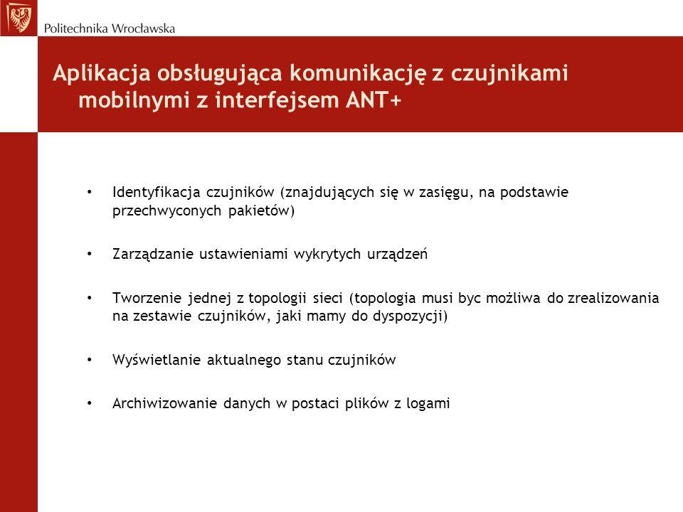 Aplikacja obsługująca komunikację z czujnikami mobilnymi z interfejsem ANT+
