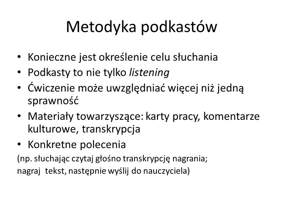 Metodyka podkastów Konieczne jest określenie celu słuchania
