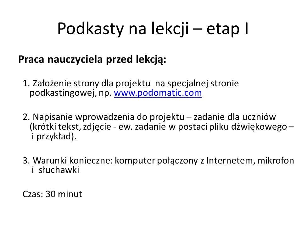 Podkasty na lekcji – etap I