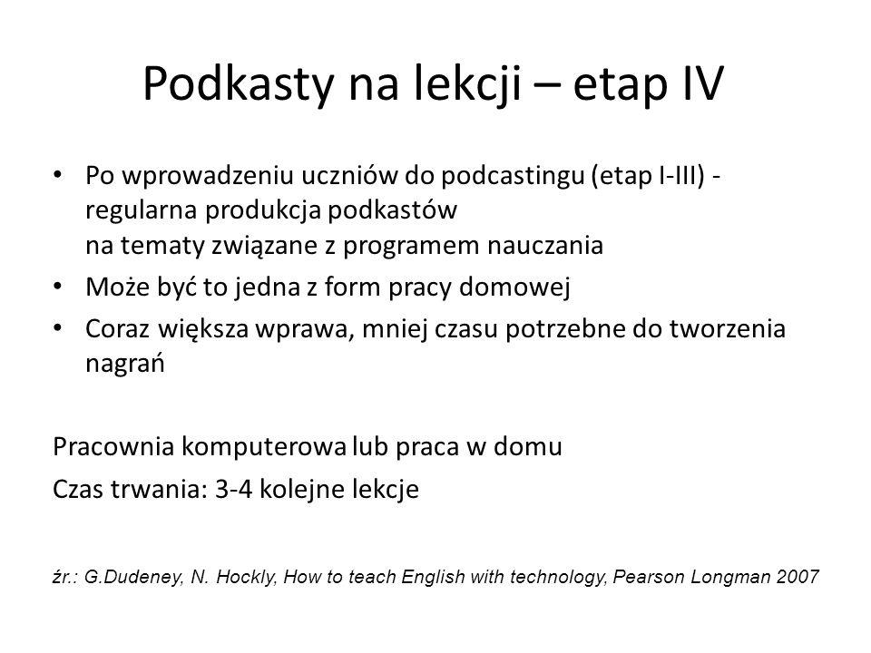 Podkasty na lekcji – etap IV