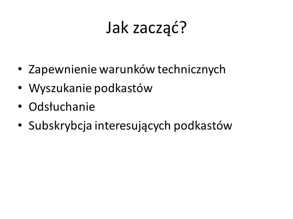 Jak zacząć Zapewnienie warunków technicznych Wyszukanie podkastów