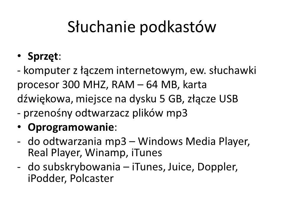 Słuchanie podkastów Sprzęt: