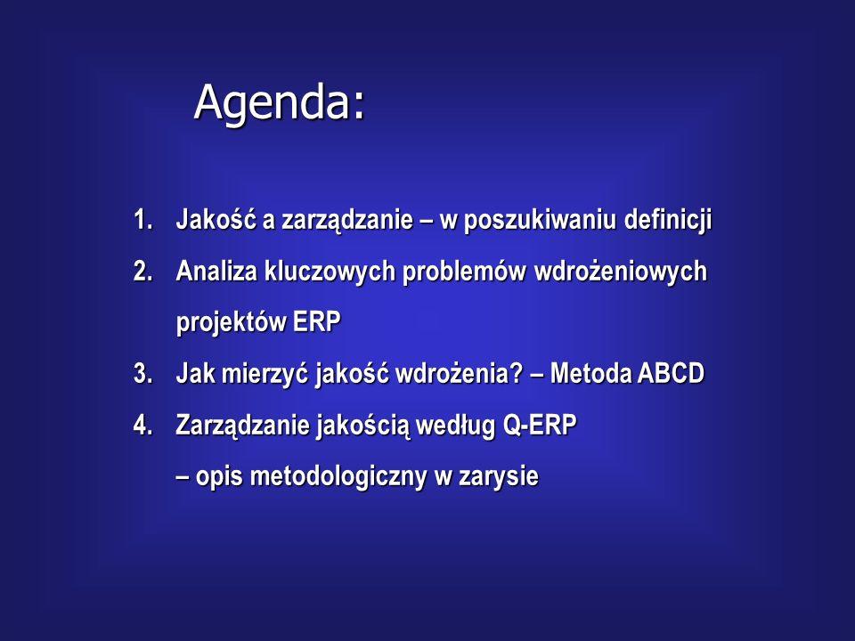 Agenda: Jakość a zarządzanie – w poszukiwaniu definicji