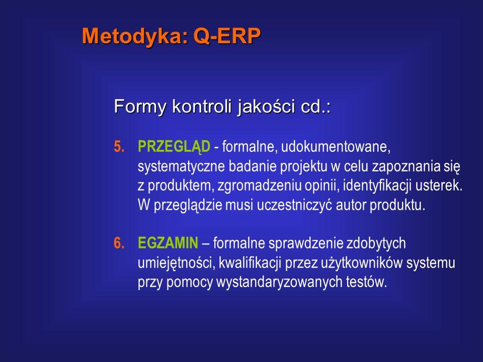 Metodyka: Q-ERP Formy kontroli jakości cd.: