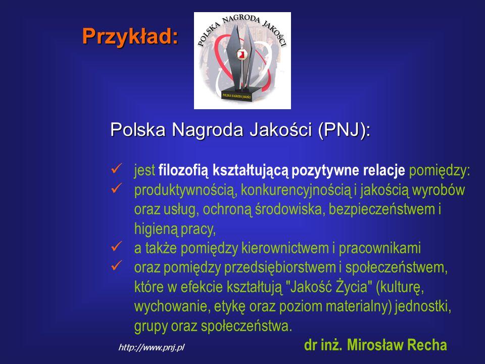 Przykład: Polska Nagroda Jakości (PNJ):