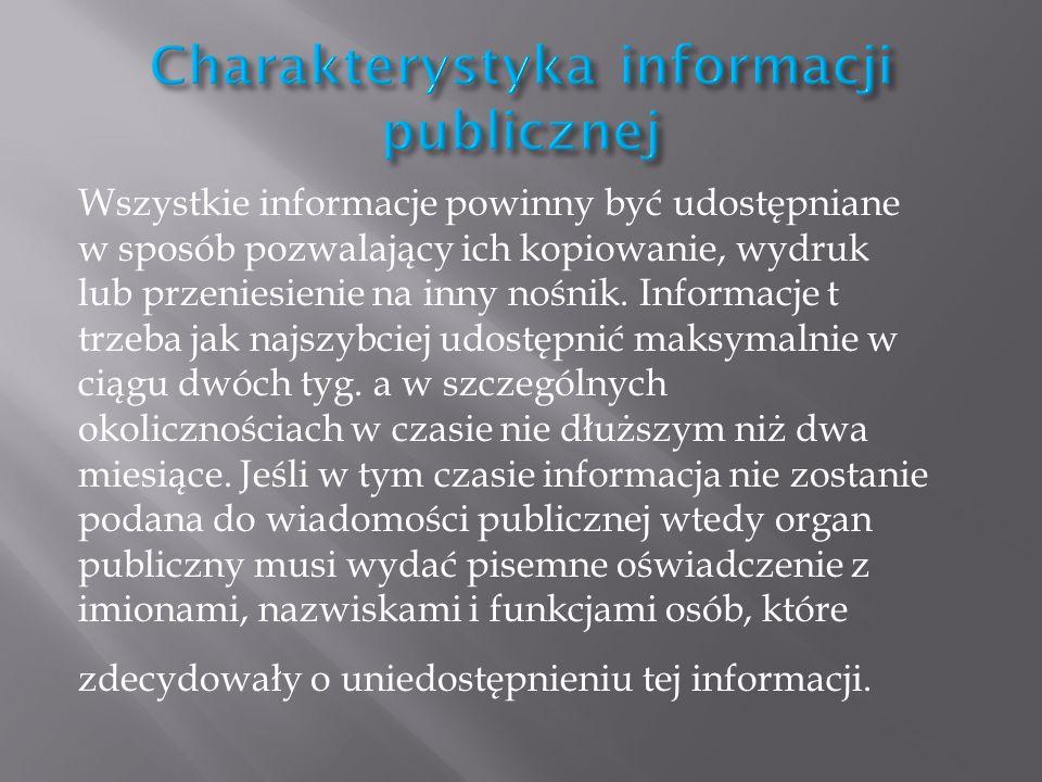 Charakterystyka informacji publicznej