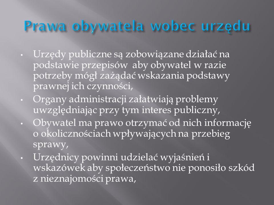 Prawa obywatela wobec urzędu