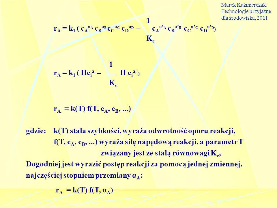 gdzie: k(T) stała szybkości, wyraża odwrotność oporu reakcji,