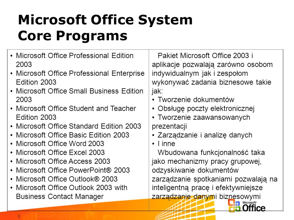 Microsoft Office System Core Programs