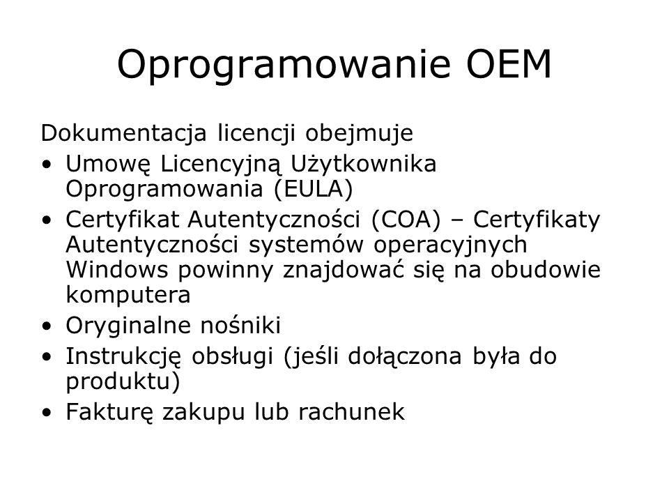 Oprogramowanie OEM Dokumentacja licencji obejmuje
