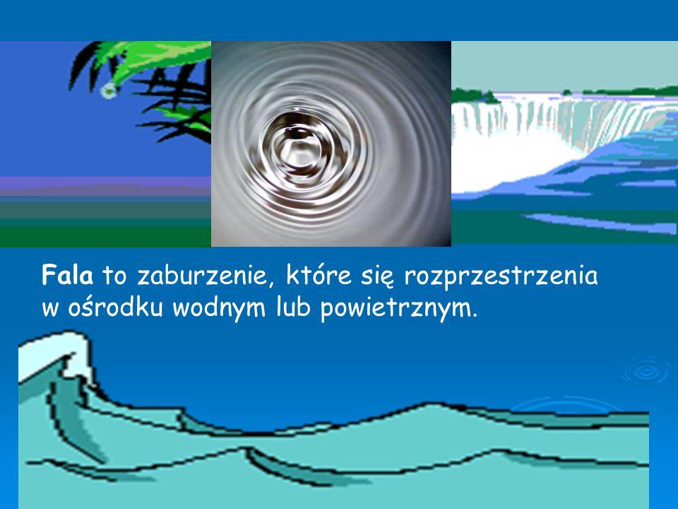 Fala to zaburzenie, które się rozprzestrzenia w ośrodku wodnym lub powietrznym.