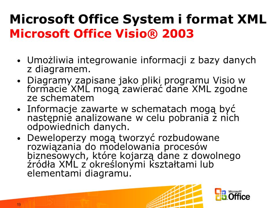 Microsoft Office System i format XML Microsoft Office Visio® 2003
