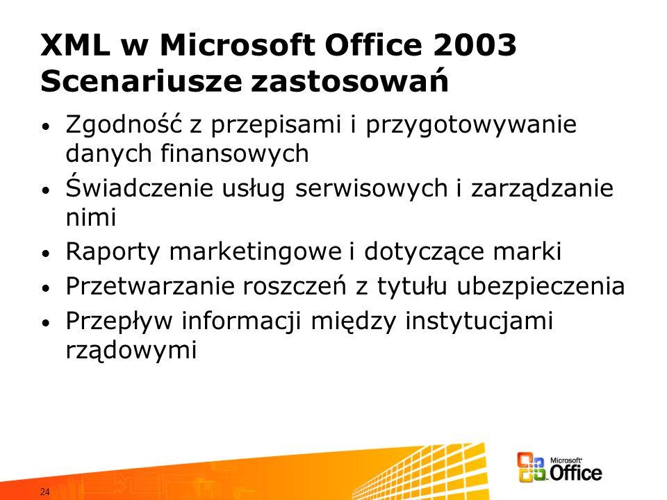 XML w Microsoft Office 2003 Scenariusze zastosowań