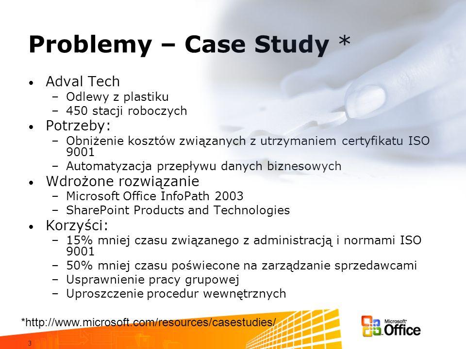 Problemy – Case Study * Adval Tech Potrzeby: Wdrożone rozwiązanie